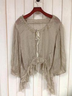 Authentic Vintage *MAGNOLIA PEARL* Tissue Silk Prairie Shirt in Latte