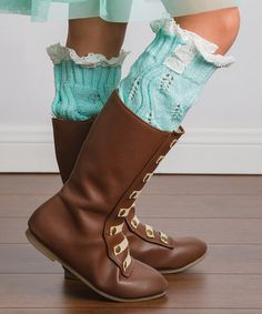 Another great find on #zulily! Mint Lace-Trim Boot Socks #zulilyfinds