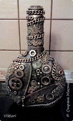 Декор предметов Ассамбляж Вазы в стиле терра и стимпанк Бутылки стеклянные фото 4