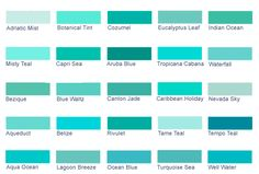 Turquoise Blue Paint Shades Of Teal Twenty Five Blue Green Paint Colors 5 Each From - Steval Decorations Turquoise Paint Colors, Green Paint Colors, Turquoise Painting, Wall Paint Colors, Bedroom Paint Colors, Interior Paint Colors, Paint Colors For Home, Bedroom Turquoise, Bathroom Colors