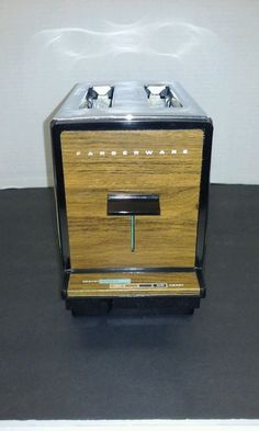 Vintage Faberware Automatic Pop Up 2 Slice Toaster - Chrome and Faux Wood