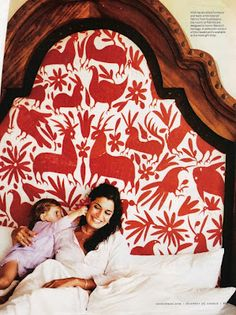 Otomi textiles headboard - One and Only Resort Palmilla. Mexican Textiles, Mexican Fabric, Little Green Notebook, Mexican Embroidery, Headboard Designs, Headboard Ideas, Mexican Style, My New Room, Beautiful Bedrooms