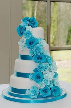 Turquoise Rose Cascade Wedding Cake - by SugarMummyCupcakes @ CakesDecor.com - cake decorating website