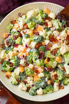 Broccoli and Cauliflower Salad {with Creamy Dressing!} - Cooking Classy Broccoli and Cauliflower Salad {with Creamy Dressing! Broccoli Recipes, Vegetable Recipes, Vegetable Salad, Broccoli Cauliflower Bacon Salad, Low Carb Brocolli Salad, Brocolli Salad With Bacon, Broccoli Salads, Fresh Broccoli, Baked Cauliflower