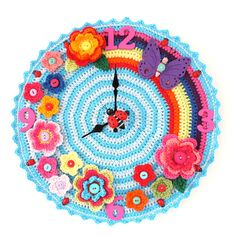 Ravelry: Crochet O'clock pattern by Matt Farci. Like Lisa Frank folders in crochet form! Crochet Diy, Crochet Amigurumi, Crochet Home, Love Crochet, Crochet Crafts, Yarn Crafts, Crochet Flowers, Crochet Projects, Diy Crafts