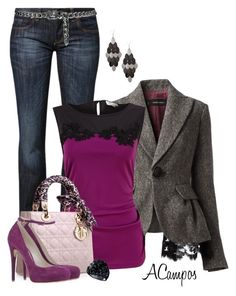 """""""Plum & Grey"""" by anna-campos ❤ liked on Polyvore featuring CROSS Jeanswear, Dsquared2, Kaliko, John Galliano, MANGO, GUESS, women's clothing, women, female and woman"""