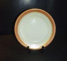 Royal Worcester Porcelain Plate Antique C. 1887 Orange & Gold  #RoyalWorcester