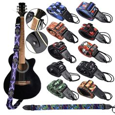 King Long Adjustable Guitar Straps for Electric Acoustic Bass Soft Thick Strap Guitar Straps, Acoustic Guitar, Bass, Electric, King, Lifestyle, Lowes, Double Bass