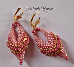 #pink #earrings #peyote#pattern #handmade #stitch #woman #rose
