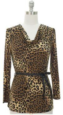 Cowl Neck Top - Brown Leopard