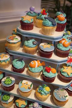 Under the Sea Baby Shower Cupcakes #babyshower #cupcakes
