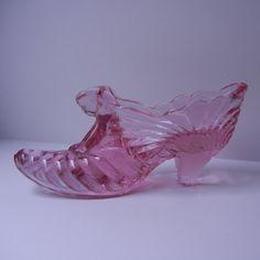 Fenton Cat Head Pink Glass Shoe Slipper