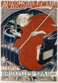 "fuckyeahvintageillustration: "" Poster design by Georges Gaudy for the Belgian Automobile Club,1898. Source """