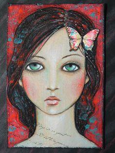 """Original OOAK 4 x 6 Mixed Media acrylic colored pencil """"Bold"""" A Kennedy portrait woman red neon teal butterfly"""