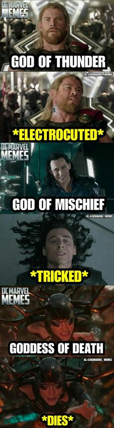 I don't think that Hela is really dead/will stay dead, but still really funny.