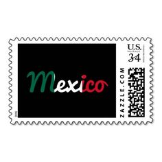 Mexican flag text sign postage