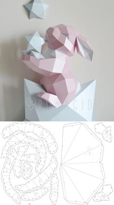 cardboard crafts template PDF TEMPLATE Bunny on a Star : Low Poly Fawn Model Origami Papercraft Pepakura Paper Instruções Origami, Origami Butterfly, Paper Crafts Origami, Cardboard Crafts, Diy Paper, Origami Flowers, Origami With Printer Paper, Origami Wall Art, 3d Paper Art