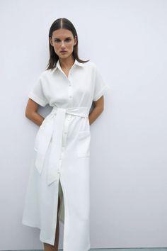 Belted Shirt Dress, Collar Dress, Vestidos Zara, Zara Dresses, Cuff Sleeves, Asian Fashion, Women's Fashion, Wrap Dress, Short Dresses