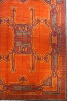 A Viennese rug - by Doris Leslie Blau. A second quarter century Viennese carpet, the rich orange open field with a bold geometric vinery design .
