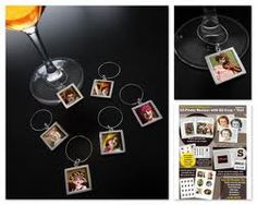 DIY wine charms for wedding party. Create with cabochons and pictures of wedding party members.  Can also serve as placement cards for reception/rehearsal.