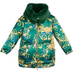 Girls Green Down Padded 'Baroque Dragon' Coat, Young Versace, Girl