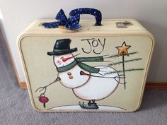 Hand Painted vintage snowman suitcase design by Barb Jones