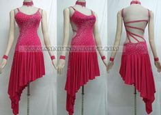 pink/red straps to waist asymetric dress http://www.smartsgarment.com/latin-dress/LD-SG1118.jpg