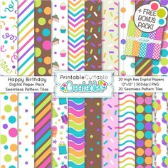 Happy Birthday Seamless Patterns & Digital Paper Pack - Birthday seamless patterns & digital papers for scrapbooking, party printables, web design, and Digital Scrapbook Paper, Digital Papers, Planners, Online Album, Swatch, Worksheets, Online Blog, Tile Patterns, Paper Patterns