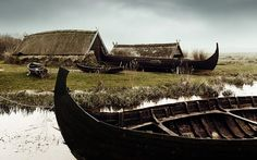 Viking huts and fishing boats.