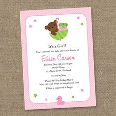 Teddy Bear Baby Shower - Pink and Green- Printable Digital Invitation - Personal Use Only