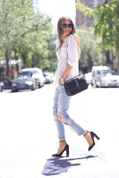 Jeans and a classic white shirt.