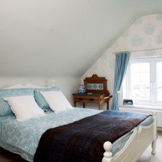 Proper Attic Conversion Ideas into a Good Bedroom on Your Home: Drop Dead Gorgeous Classic Design Chic Bedroom Ideas With Deluxe King Sized Bed And Blue Floral Pattern Bedspread Also Pillowcase ~ workdon.com Bedroom Design Inspiration