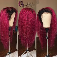 Magenta custom colored Brazilian Italian wavy lace frontal wig unit (ig: Magenta custom colored Brazilian Italian wavy lace frontal wig unit (ig: & Joei Lea) email joiebyjoeiwigs for pricing Frontal Hairstyles, Wig Hairstyles, Black Hairstyles, Beautiful Hairstyles, Hairstyles 2018, Wig Styles, Curly Hair Styles, Natural Hair Styles, Magenta