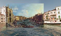 Classic paintings meet Google street maps views.  Venice - A Regatta on the Grand Canal 1740 Canaletto