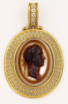 Victorian Enamel, Agate Cameo And Gold Etruscan Rivival Pendant - Robert Phillips of Cockspur St., London (Phillips was one of the great jewelers in London during the reign of Queen Victoria and many of his pieces are in the Victorian And Albert Museum)