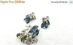 Montana Blue and Smoke Rhinestones Brooch and Clip earrings Retro Beau jewels Style Silver tone #jewellery #jewelleryset