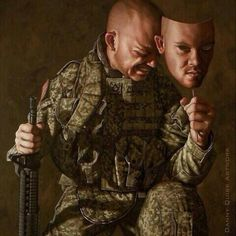 (De)Facing P. by Danny Quirk. The piece plays off of the emotional toll PTSD has, and how many wear a mask to shield their feelings, and hide their vulnerability. Cyberpunk, Psy Art, Powerful Images, Powerful Art, Photoshop, A Level Art, Portraits, Human Condition, Military Art