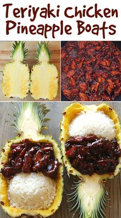 TERIYAKI CHICKEN PINEAPPLE BOATS: 1 large pineapple 1 tablespoon canola oil 1 pound boneless, skinless chicken thighs, cut into pieces ¾ cup soy sauce ¼ cup packed brown sugar ¼ cup honey 3 tablespoons sesame seeds 2 cups cooked white rice, divided I Love Food, Good Food, Yummy Food, Tasty, Pineapple Boats, Pineapple Cup, Easy Teriyaki Chicken, Pineapple Chicken Teriyaki, Teriyaki Rice