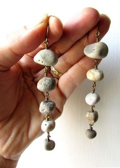 These long river rock earrings are a beautiful way to tell the world that you believe in bold living on rocky shores. (Click through to buy some nature jewelry for yourself!) Handmade by Jenny Hoople