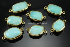 Chrysoprase faceted gemstone CONNECTOR link bezel by madameperlina, $6.90
