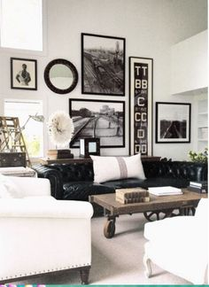 Always loved the idea of an all black & white retro room...I'd also throw in some red