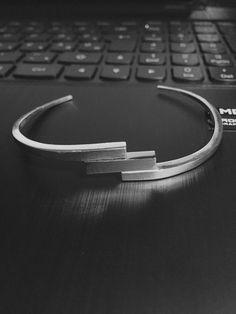 Silver and stainless steel bracelet