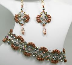 Deb Roberti's Flutter Bracelet and Earrings done in Bronze Fire Red SuperDuo beads to capture the essence of Spring 2014 color Cayenne