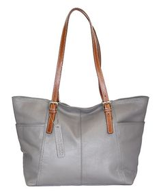 Another great find on #zulily! Stone Leather Butter Cup Blossom Leather Tote…