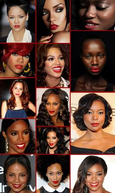 Red lips and afro girls! Need to find the perfect shade!