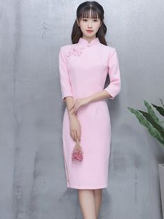 Sugar Wool-Blend Midi Qipao / Cheongsam Dress