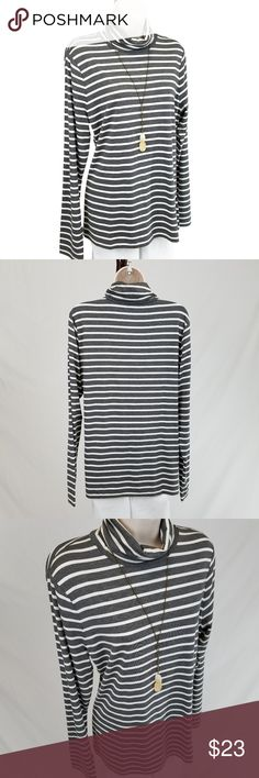 Chaps striped turtleneck Long sleeve turtleneck with white stripes against a gray background.  Looks great with a vest.  Bust 20 / length 26.5 inches (unstretched). Chaps Tops