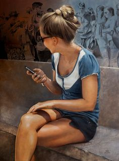 Marc Figueras (Spanish, b. 1981) {contemporary figurative realism art seated female painting #loveart} marcfigueras.blogspot.com
