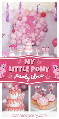 Valmaly A's Birthday / Pinky Pie - Angelina's five birthday party at Catch My Party Baby Birthday Decorations, Girls Birthday Party Themes, Birthday Drinks, Girl Birthday, Birthday Parties, Fourth Birthday, Christmas Decorations, Little Pony Cake, My Little Pony Birthday Party