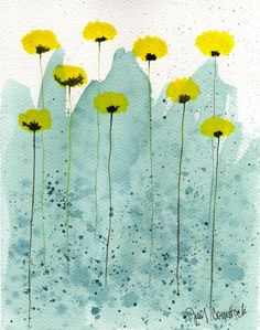 Yellow Poppies watercolor by Jennifer Comstock